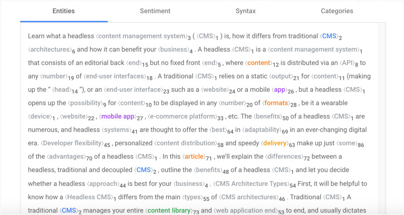 screenshot of Google Natural Language Search api result