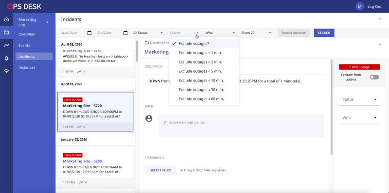 screenshot of Brightspot Ops Desk, a cloud-management tool for DevOps teams