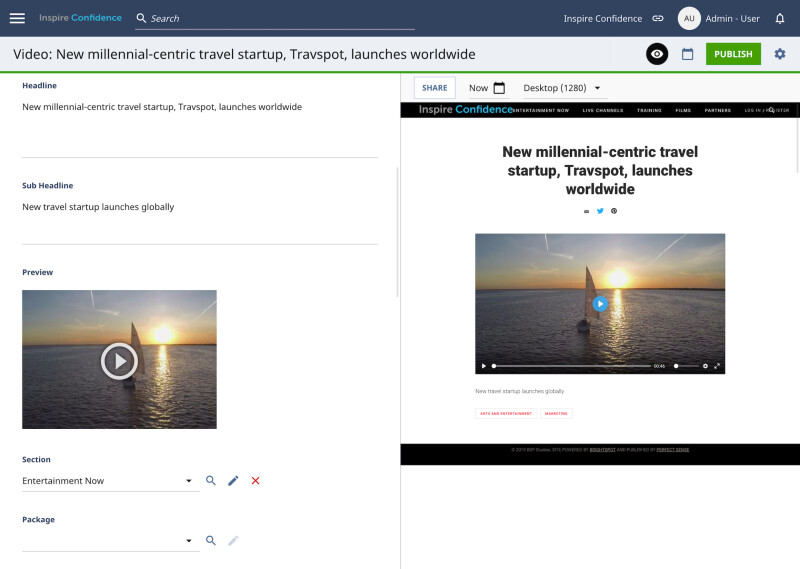 image of Video publishing in the Brighspot CMS