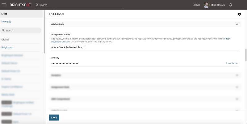 screenshot of Adobe Stock integration dashboard in Brightspot CMS