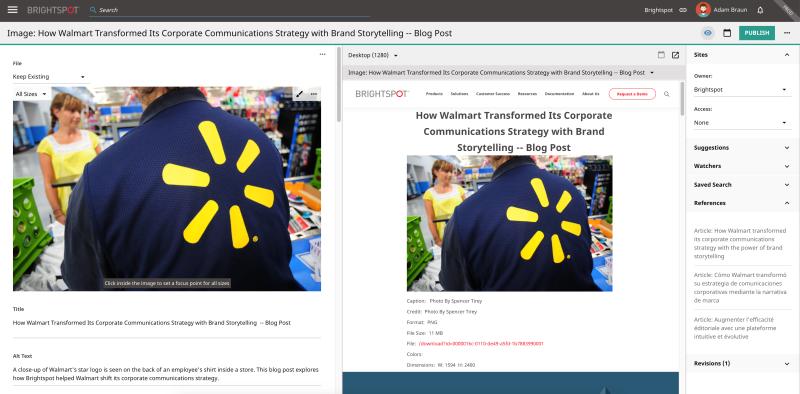Walmart screenshot, digital asset management example