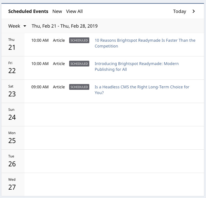 Assets scheduled this week