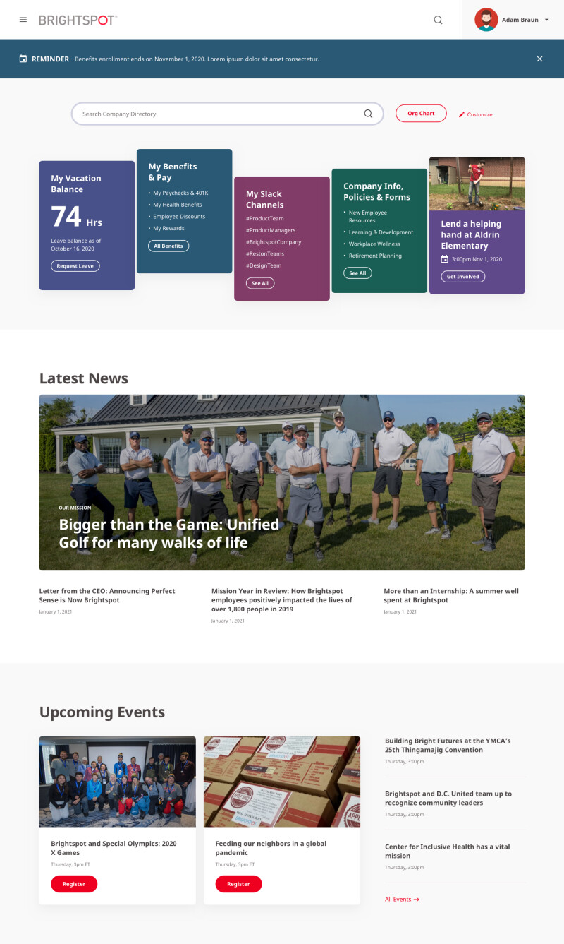 image of Brightspot Intranet homepage