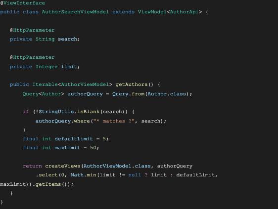 screenshot of GraphQL query code