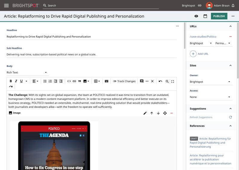 screenshot of Brightspot CMS UI