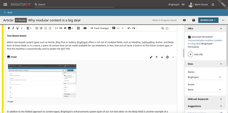 screenshot showing image as reusable modular content element in Brightspot CMS