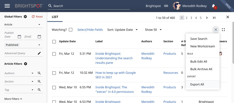 Detailed view of the Brightspot search actions area