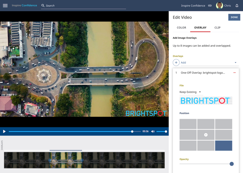Video editor in the Brightspot CMS