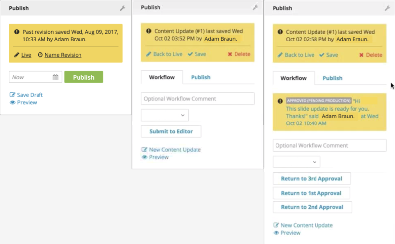 Examples of the various states and heights of the publish widget in v3