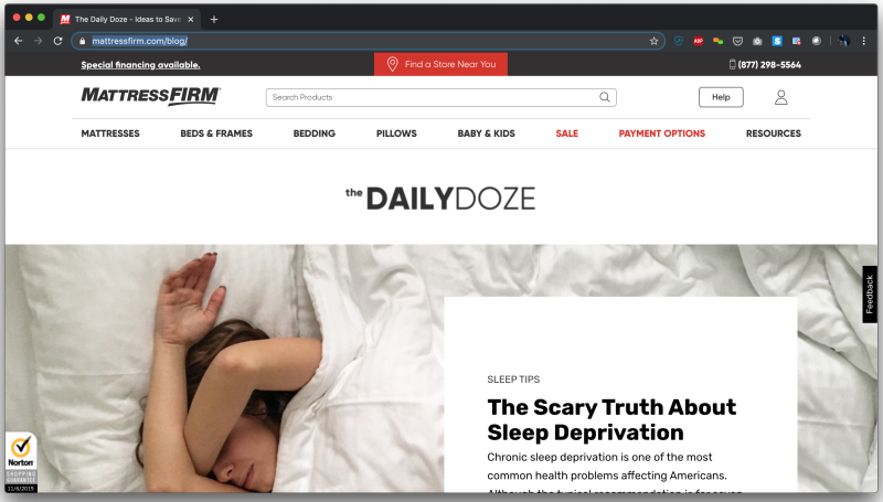 Mattress Firm - Daily Doze landing page