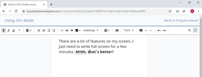 """The """"zen mode"""" experience in Brightspot's rich text editor"""