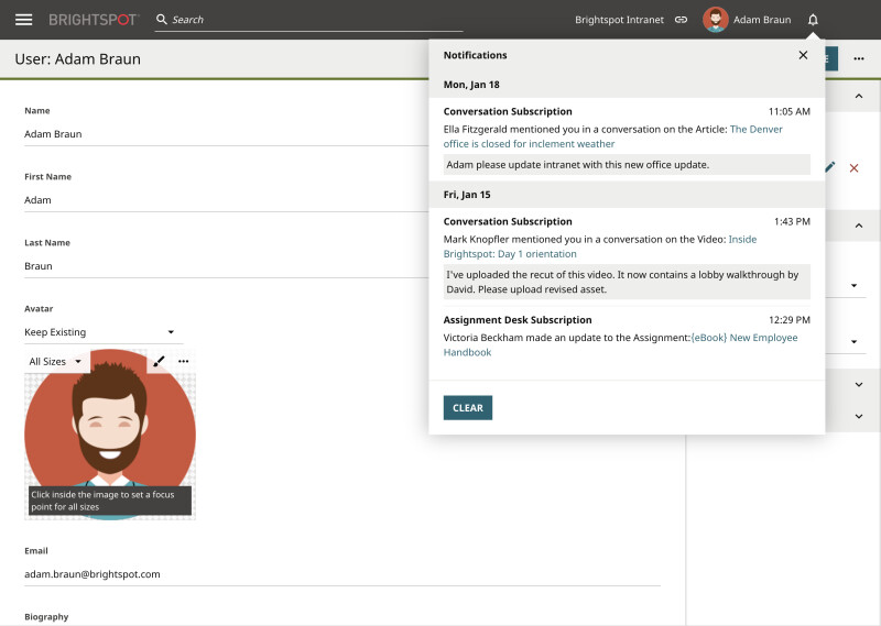 screenshot of Brightspot Intranet CMS notifications