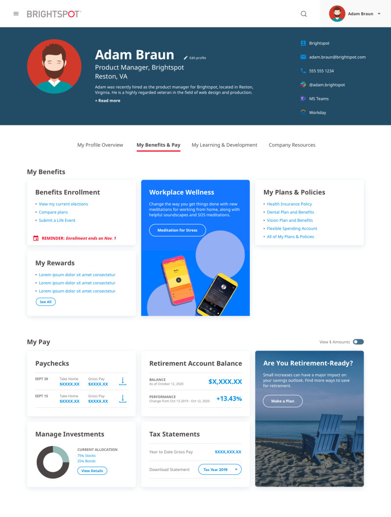 image of profile page on Brightspot Intranet