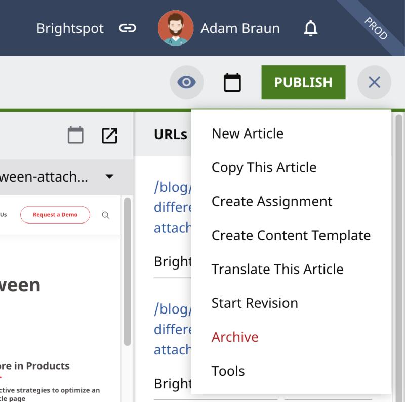 Brightspot Post Publish Actions