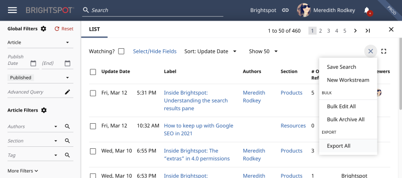 Results of a custom search in Brightspot with Export selected