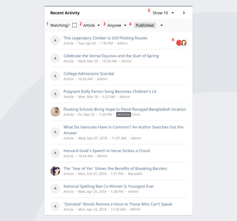 Recent Activity Widget