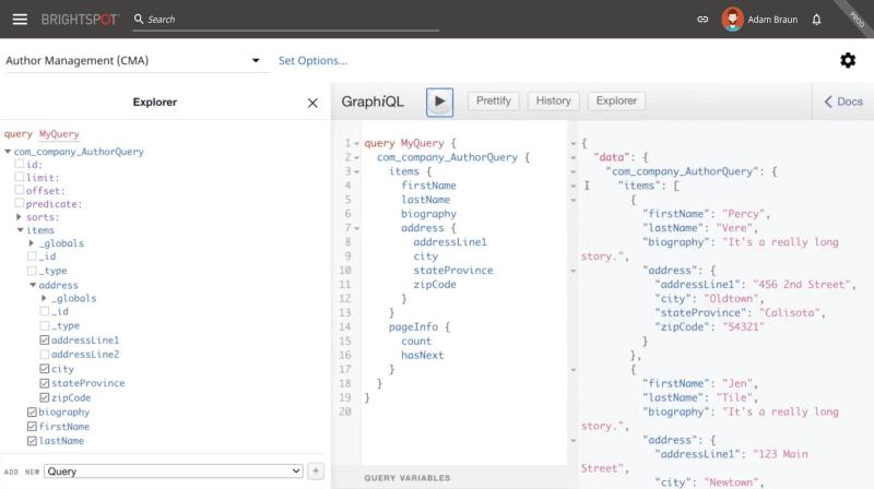 screenshot of Brightspot GraphQL query interface