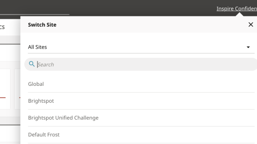 Screenshot of Brightspot CMS multisite functionality