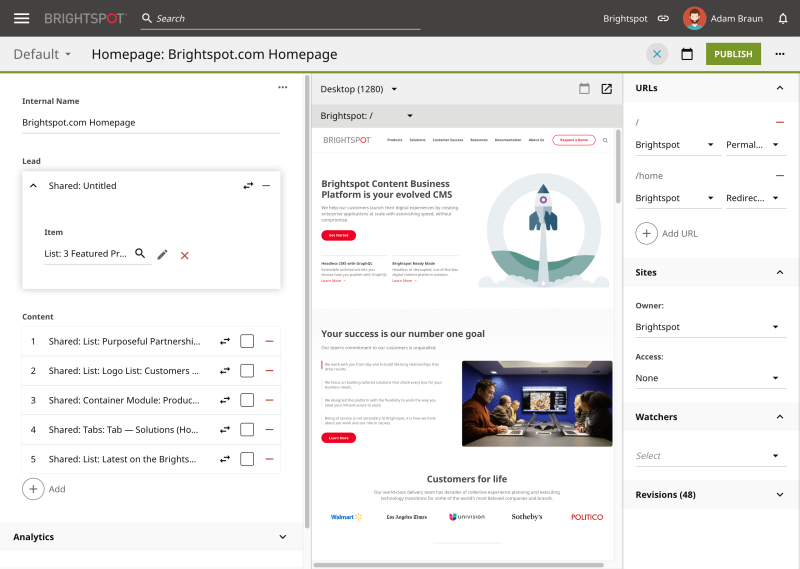 Adobe Experience Manager vs Brightspot: Homepage screenshot