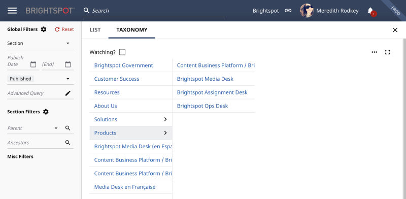 Brightspot search results -- in taxonomy view