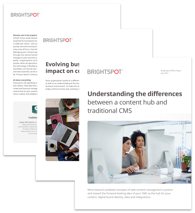 Differences Between a Content Hub and Traditional CMS white paper promo
