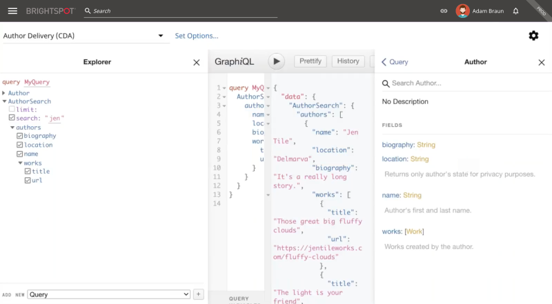 example of Brightspot GraphQL query interface