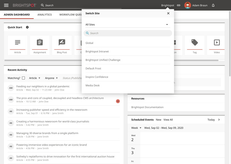 Adobe Experience Manager vs Brightspot: Microsite features