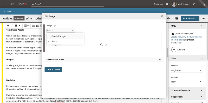 screenshot showing image flexibility when building modular content elements in the Brightspot CMS
