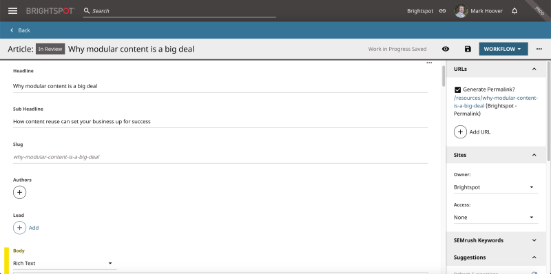 screenshot highlighting modular content example in Brightspot's CMS