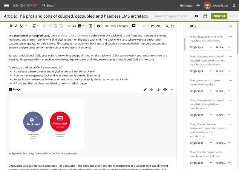 Adobe Experience Manager vs Brightspot: Rich-text editor