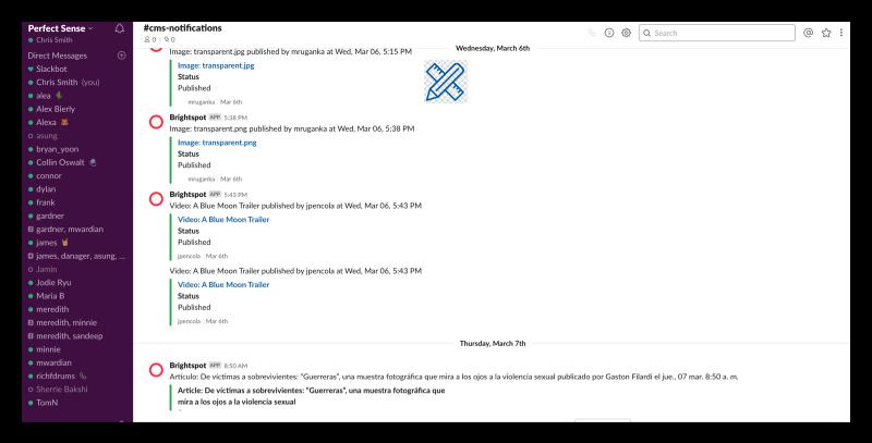 publish notifications slack