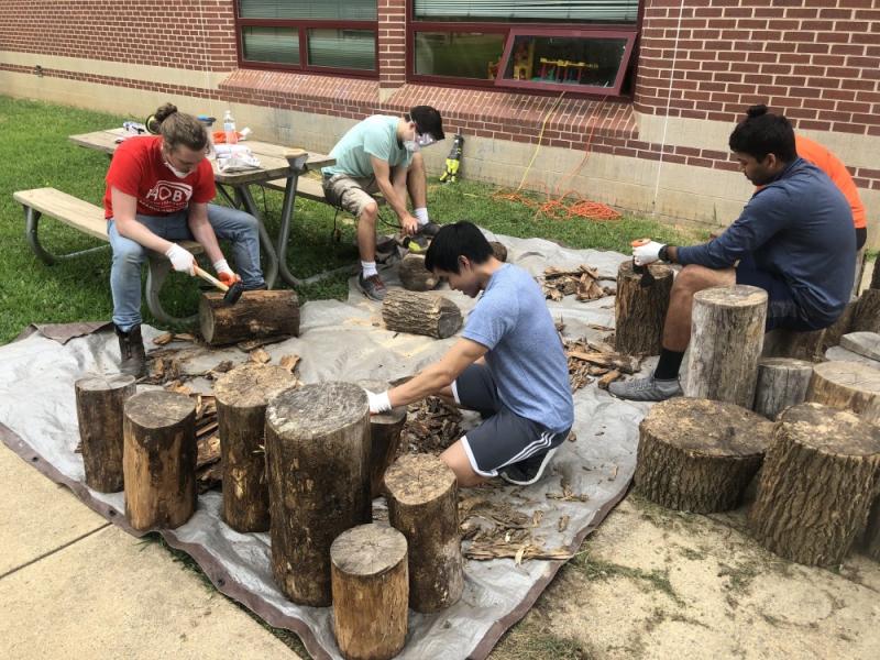 Brightspot employees helping at Aldrin Elementary School