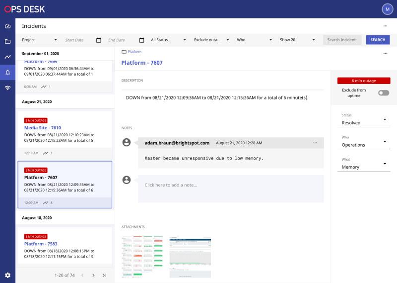 screenshot of Ops Desk dashboard, a cloud-management resource tool