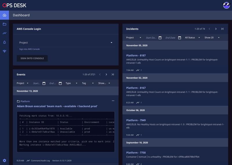 screenshot of Brightspot Ops Desk dashboard