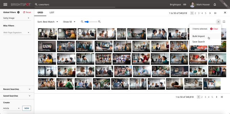 Getty Images and Brightspot integration: screenshot of search results pane