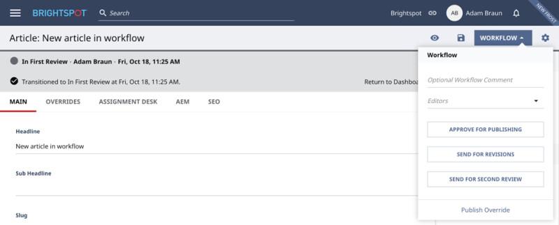 screenshot of Title Bar in Brightspot CMS