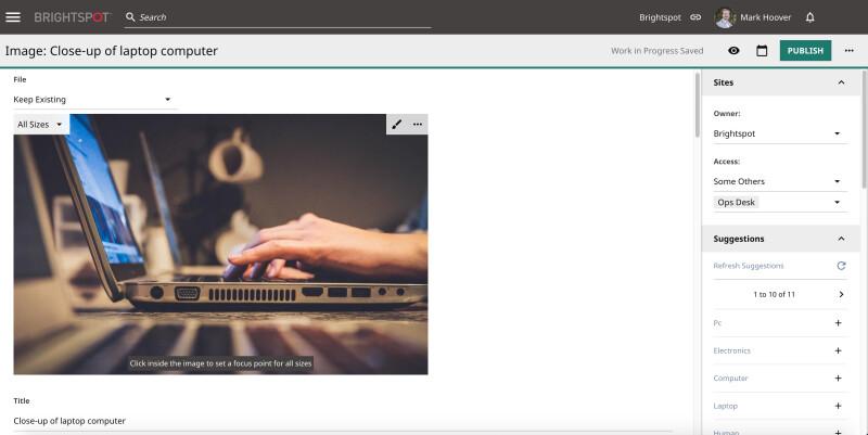 screenshot of Adobe Stock integration in Brightspot CMS
